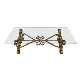 Vintage Spanish Revival Gold Gilt Wrought Iron & Glass Coffee Table