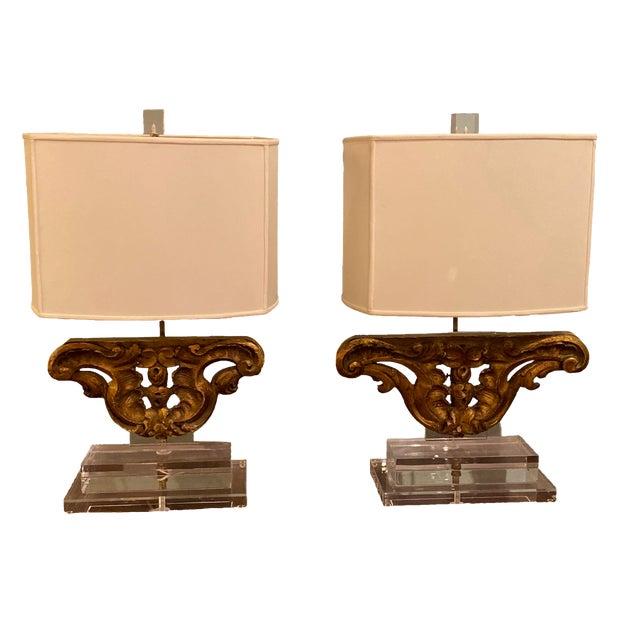 Vintage Gilt Wood Fragment Lamps - a Pair For Sale