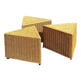 Image of Vintage Rattan Triangle Side Table - Set of Three For Sale