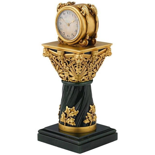 Bronze Paul Frey Miniature 18-Karat Gold and Jade Clock For Sale - Image 7 of 7