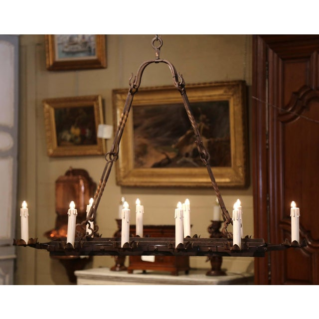 19th Century French Gothic Forged Iron Ten-Light Chandelier For Sale - Image 9 of 13