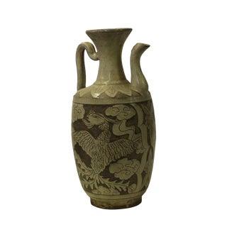 Chinese Cizhou Ware Ceramic Black Underglaze Dragon Round Vase Jar For Sale