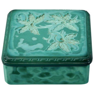 Art Deco Bohemian Czech Square Malachite Glass Box For Sale