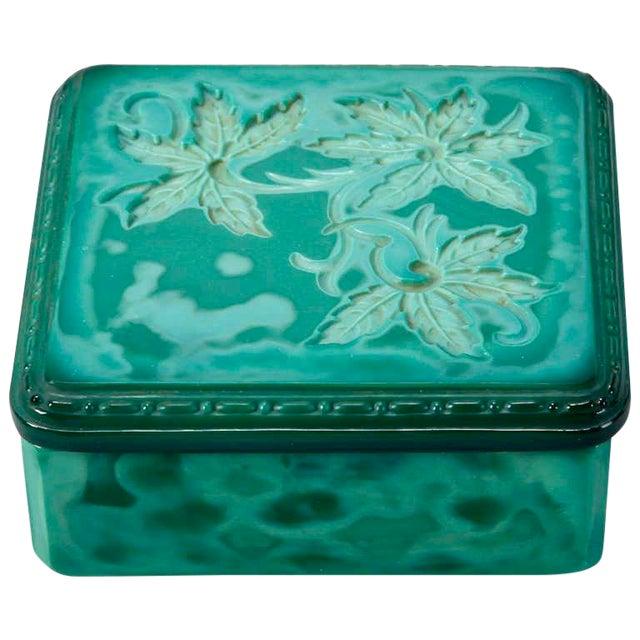 Art Deco Bohemian Czech Square Malachite Glass Box For Sale