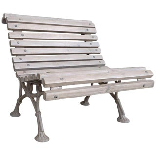 20th Century Antique White Garden Bench With Wood Slabs and Cast Iron Legs For Sale