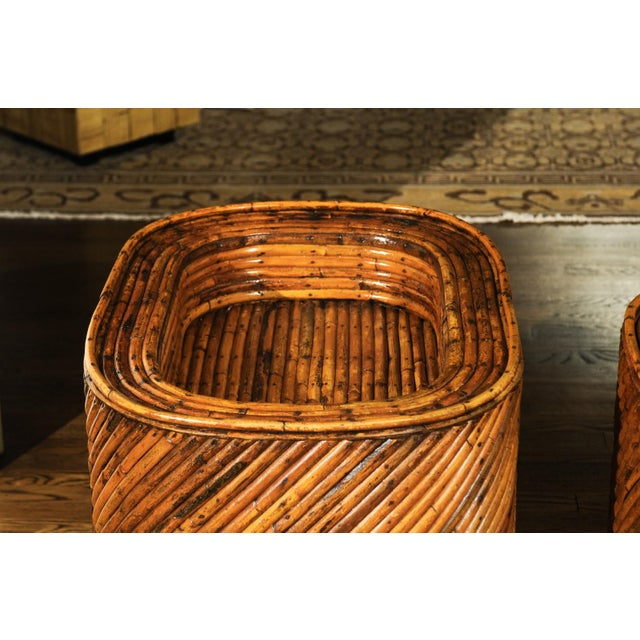 Brown Exceptional Restored Pair of Bamboo Display End Tables, circa 1975 For Sale - Image 8 of 13