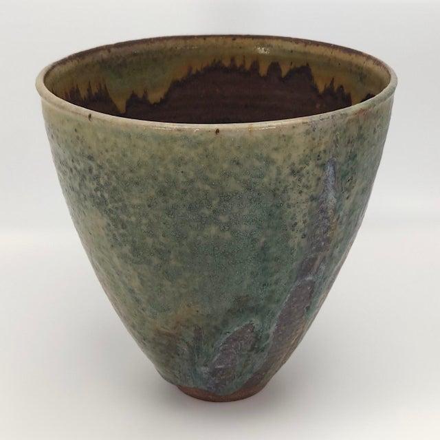 Modern Late 20th Century Vintage Glazed Studio Pottery Vase For Sale - Image 3 of 13
