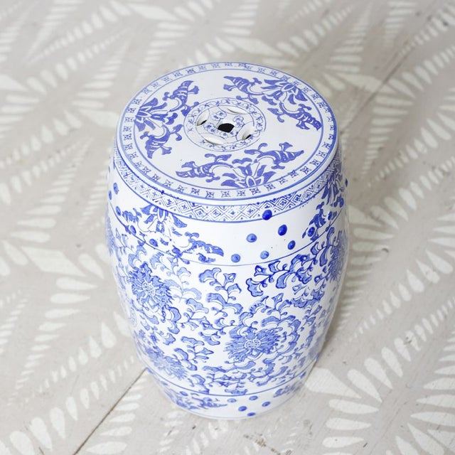 Asian Blue & White Patterned Garden Seat For Sale - Image 3 of 4