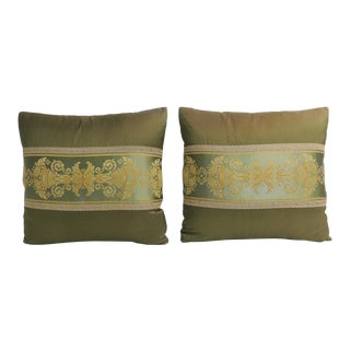 Pair of 19th Century Green and Gold French Silk Decorative Pillows For Sale
