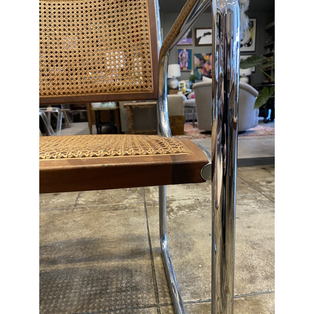 Mid 20th Century Vintage Chrome and Cane Chairs - a Pair For Sale - Image 5 of 9