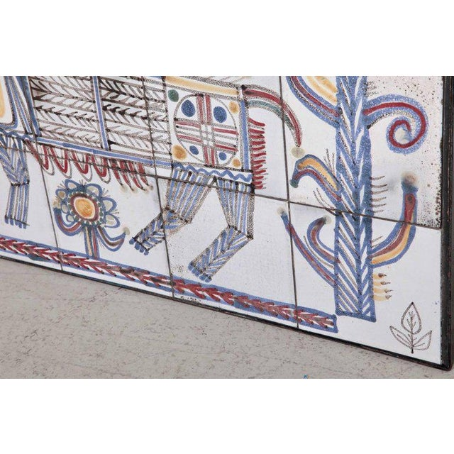 Jean Derval Large Jean Derval Ceramic Tile Wall Panel, France, 1950s For Sale - Image 4 of 5