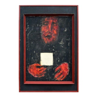 Mid 20th Century Abstract Figurative Oil Painting, Framed For Sale