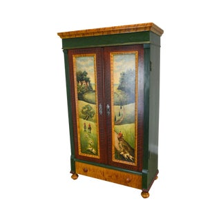 Country Pine Antique Armoire W/ Equestrian Fox Hunt Hand Painted Design For Sale