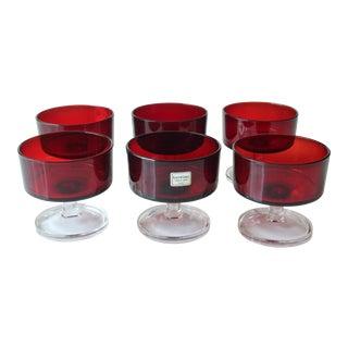 Vintage Red Luminarc Champagne Glasses - Set of 6 For Sale
