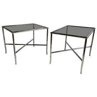 Mid-Century Modern Chinoiserie Faux Bamboo Side Tables For Sale