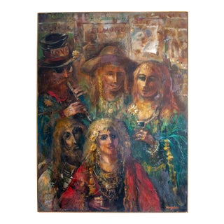"""1970s Vintage Jonah Kinigstein """"Hippies"""" Oil Painting For Sale"""