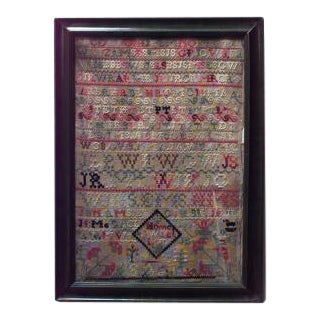 19th Century American Country embroidered sampler of the alphabet in green frame For Sale