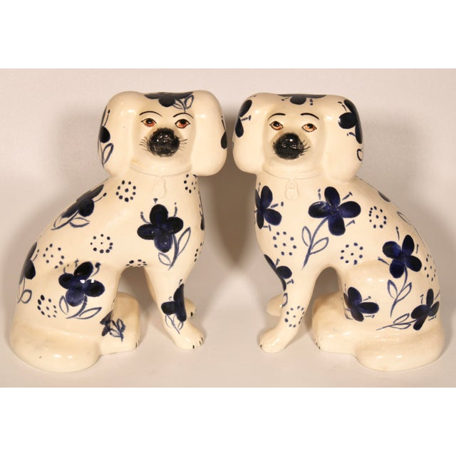 Antique Blue and White Staffordshire Dogs - a Pair For Sale - Image 12 of 12