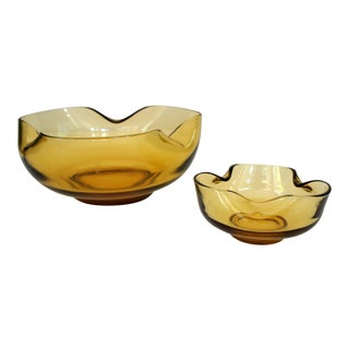 Anchor Hocking Amber Pinched Glass Bowls - a Pair