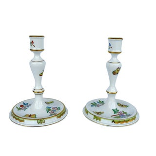 Vintage Herend Hungary Porcelain Candlestick Holders- A Pair For Sale
