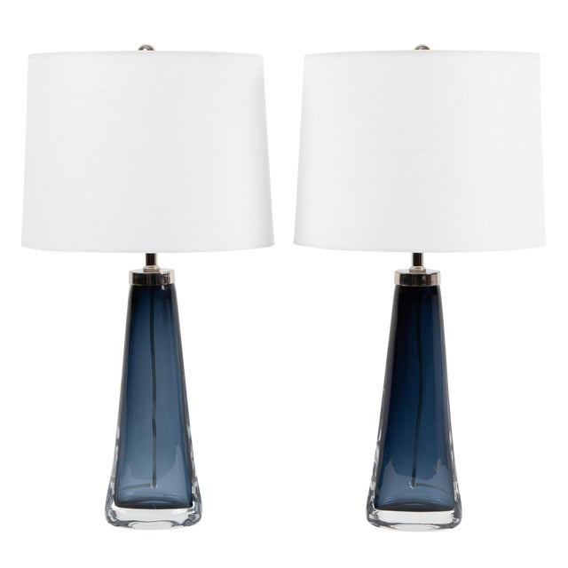 1960's Vintage Carl Fagerlund for Orrefors Blue Glass Table Lamps- A Pair For Sale