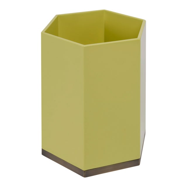 Hexagonal Bin in Mustard Yellow - Veere Grenney for The Lacquer Company For Sale