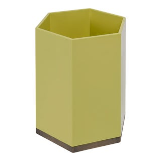 Veere Grenney Collection Hexagonal Bin in Mustard Yellow For Sale