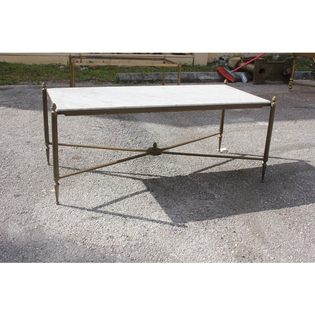 Long Maison Jansen Coffee Or Cocktail Table Bronze Rectangular With Marble Top Circa 1940s For Sale In Miami - Image 6 of 11