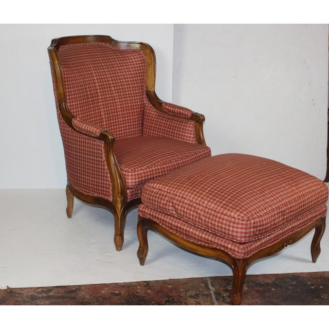 Louis XV Style Wing Back Chair & Ottoman - Image 6 of 6