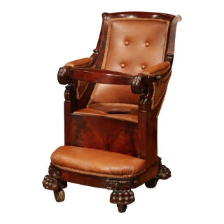 19th Century French Napoleon III Carved Child Armchair With Tray and Potty Hole For Sale