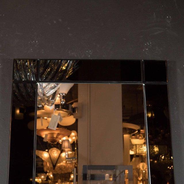 Art Deco Custom Handmade Rectangular Mirror with Beveled Black Mirrored Glass Border For Sale - Image 3 of 5