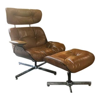 Selig Eames Style Brown Leather Lounge Chair and Ottoman