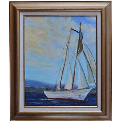 Irving Johnson, Santa Barbara Seascape Painting - Image 1 of 3
