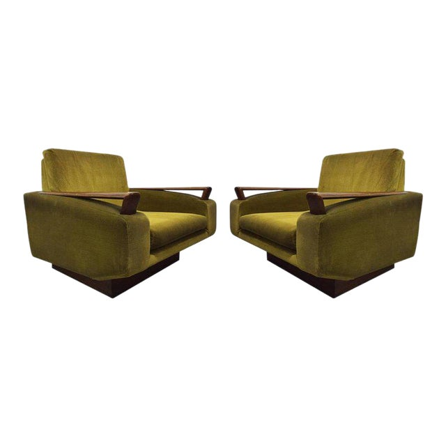 Pair of Jacques Adnet Sculptural Lounge Chairs For Sale