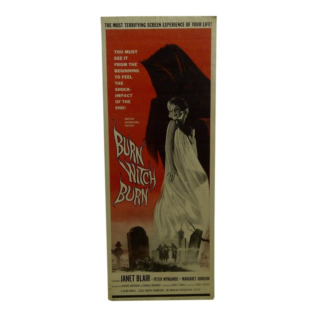 "Vintage Movie Poster ""Burn Witch Burn"" Janet Blair - 1962 For Sale"