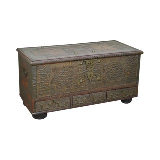 Antique Surat Brass Mounted Teak Arab Chest For Sale