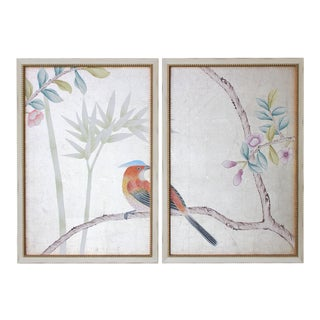 Vintage Chinoiserie Hand-Painted Wallpaper Remnant Diptych Rendered on Silver Leaf - 2 Pieces For Sale