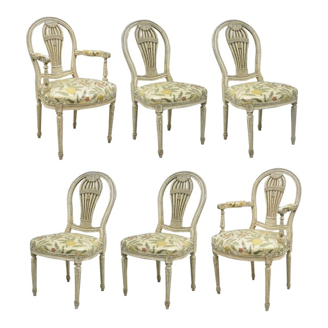 20th Century Louis XVI French Style Hot Air Balloon Back Dining Chairs - Set of 6 For Sale
