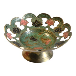 Vintage Pierced Brass Enamel Bowl For Sale