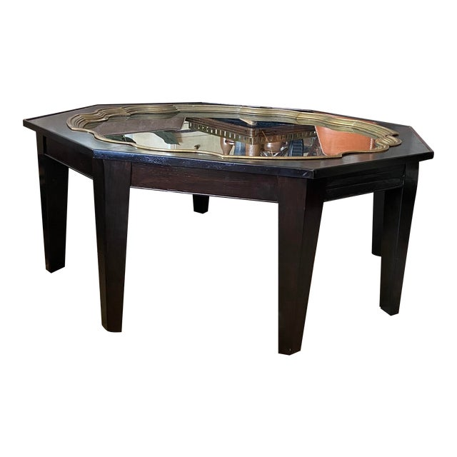 Mid Century Baker Ebony Octagonol Coffee Table With Glass Inset For Sale
