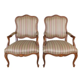 Ethan Allen French Louis XV Style Fireside Accent Arm Chairs - a Pair For Sale