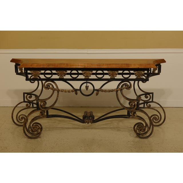 Wrought Iron Base Console Table with Maple Top For Sale - Image 13 of 13