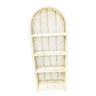 Vintage White Wicker Dometop Bookcase For Sale