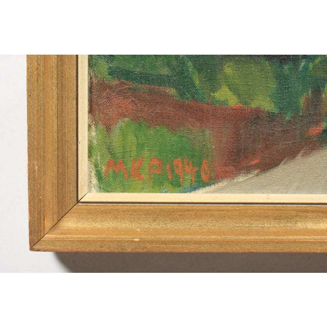 1940 Expressionist view of a Mediterranean village from a terrace featuring palm trees and white buildings. Signed MKP and...