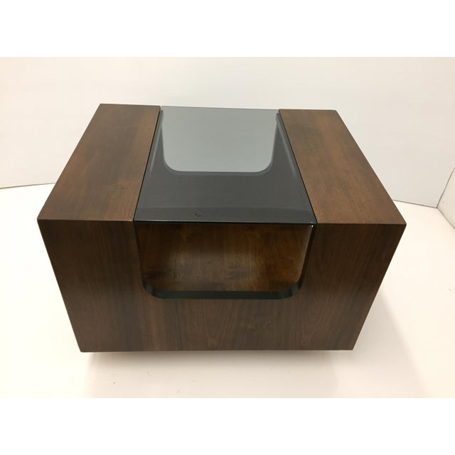 1970s 1970s Lane Smoked Glass Walnut Cubed Side Table For Sale - Image 5 of 7