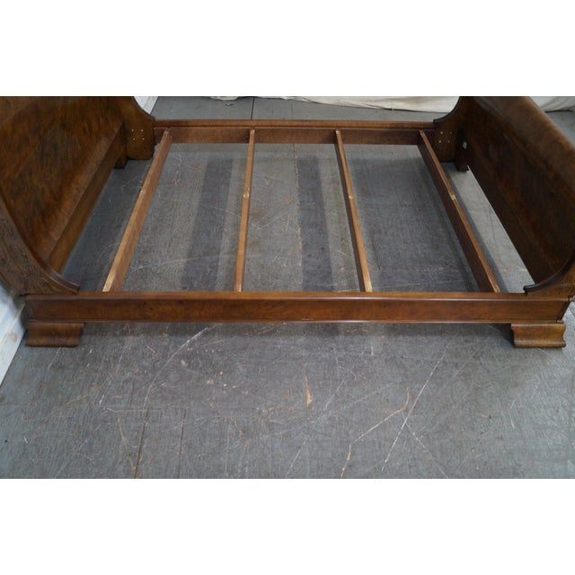 Burlwood Henredon Charles X Queen Size Burl Wood Sleigh Bed For Sale - Image 7 of 10