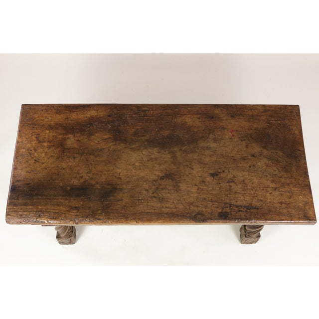 Italian Walnut Low Table with Carved Barley Twist Legs and Twisted Iron Cross Stretchers, Circa 1800 For Sale In San Francisco - Image 6 of 13