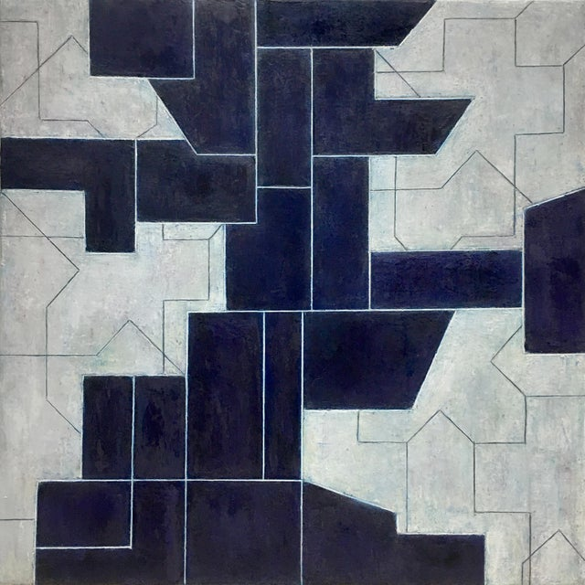 Canvas Geometric Abstract Oil Painting From the Ancient Modern Series by Stephen Cimini For Sale - Image 7 of 7