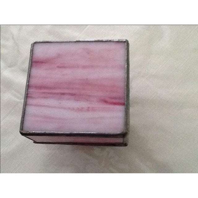 Vintage Pink Stained Glass Jewel Box For Sale - Image 4 of 7