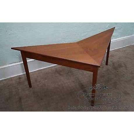 1980s Mid Century Modern Studio Made Triangle Boomerang Low Table For Sale - Image 5 of 13